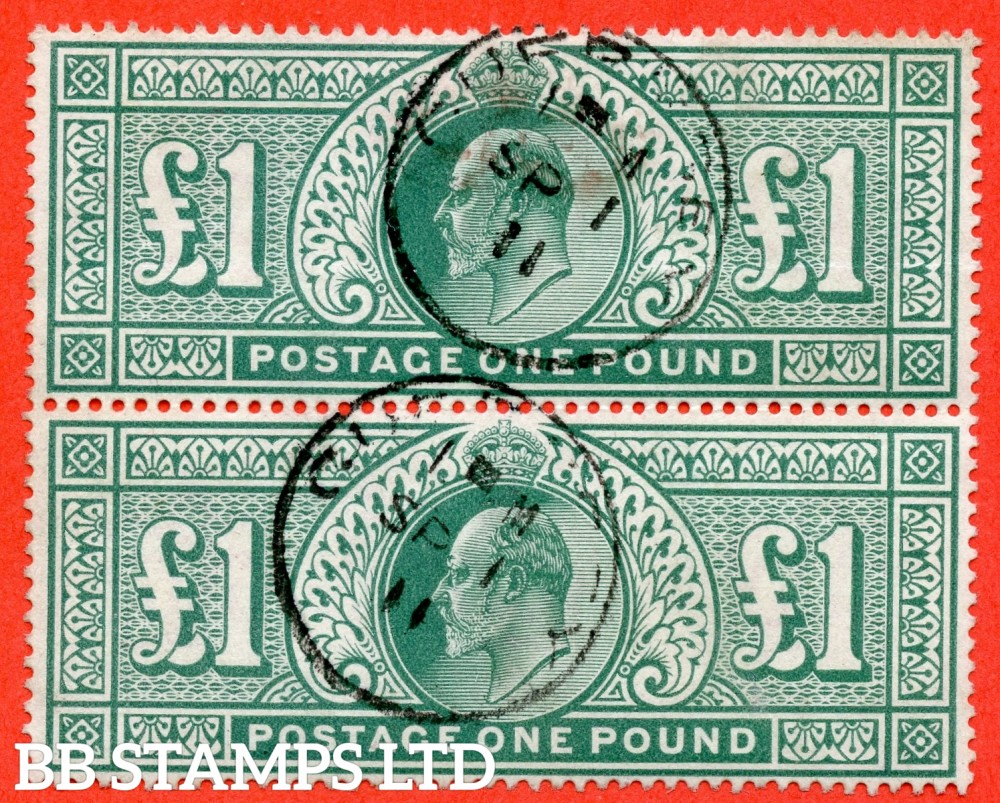 "SG. 266. M55. £1.00 dull blue - green. A very fine "" 1st September 1911 GUERNSEY "" CDS used vertical pair."