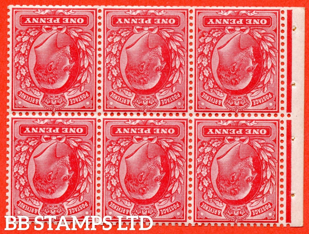 "SG. 219 aw. MB5a. M5 (1) a. 1d scarlet. INVERTED WATERMARK. A super UNMOUNTED MINT complete booklet pane. Perf type "" E ""."