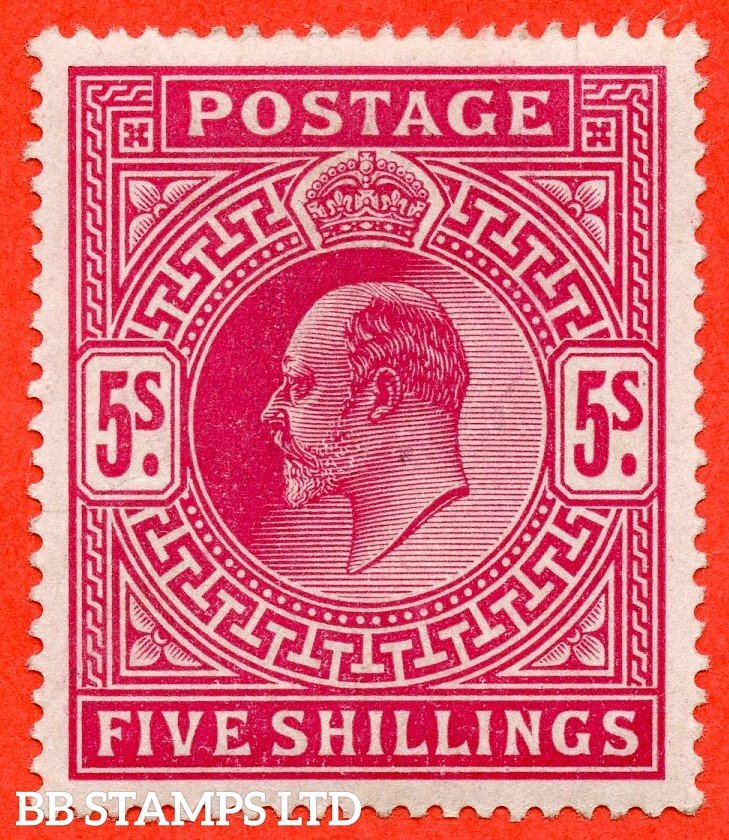 SG. 263. M51 (1). 5/- Bright Carmine. A very fine well centred unmounted example.