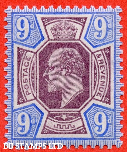 "SG. 251 variety M39 (2). 9d Slate Purple & Ultramarine. A fine UNMOUNTED MINT example complete with Hendon certificate. The certificate notes "" DEEP BRIGHT ULTRAMARINE SHDAE ""."