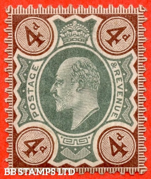 SG. 235 variety M23 (2). 4d Green & Brown. A superb UNMOUNTED MINT example complete with Hendon certificate.