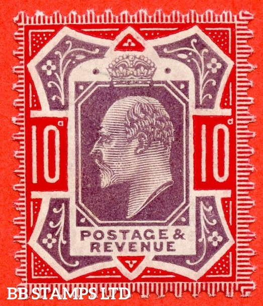 "SG. 256a. M43 (5) 10d Dull Purple & Scarlet ©. "" No Cross on Crown. A Superb UNMOUNTED MINT example."