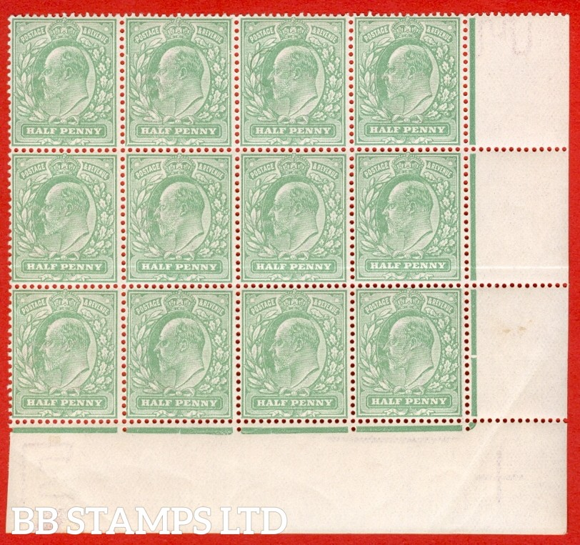 "SG. M4 (4 ). ½d Pale Bluish Green. A superb UNMOUNTED MINT positional corner block of 12 clearly showing the listed variety "" Major frame breaks ( Pl. 64b, row 18/10 ) "".  A very scarce multiple these days."