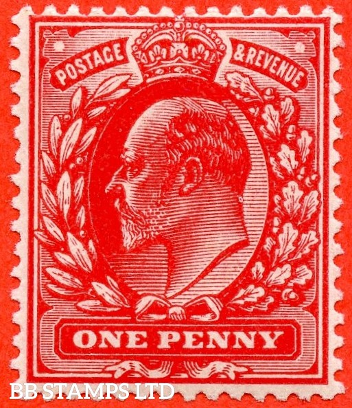 SG. M5 ( UNLISTED). 1d Deep Blood Red. A superb UNMOUNTED MINT example of this known but unlisted by SG. Shade variety complete with certificate.