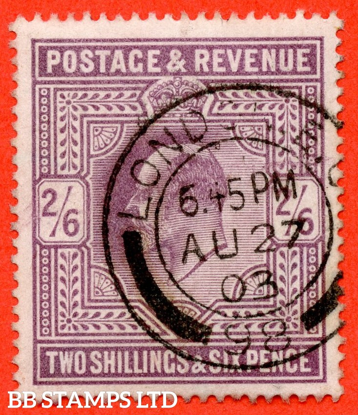 "SG. 260. M48 (1). 2/6 Lilac. A very fine "" August 27th 1903 LONDON "" CDS used example."