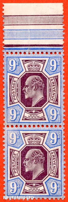 "SG. 251a. M40 (3). 9d Slate Purple & Ultramarine ©. An UNMOUNTED MINT top marginal pair. With unlisted frame break varieties "" lower right of head plate - top stamp and left of upper right tablet - lower stamp. Ex. LMB."