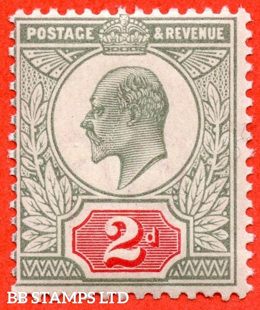 SG. M11 (3). 2d Pale Grey Green & Scarlet Vermilion. A super UNMOUNTED MINT example of this difficult Edwardian shade variety complete with Hendon certificate.