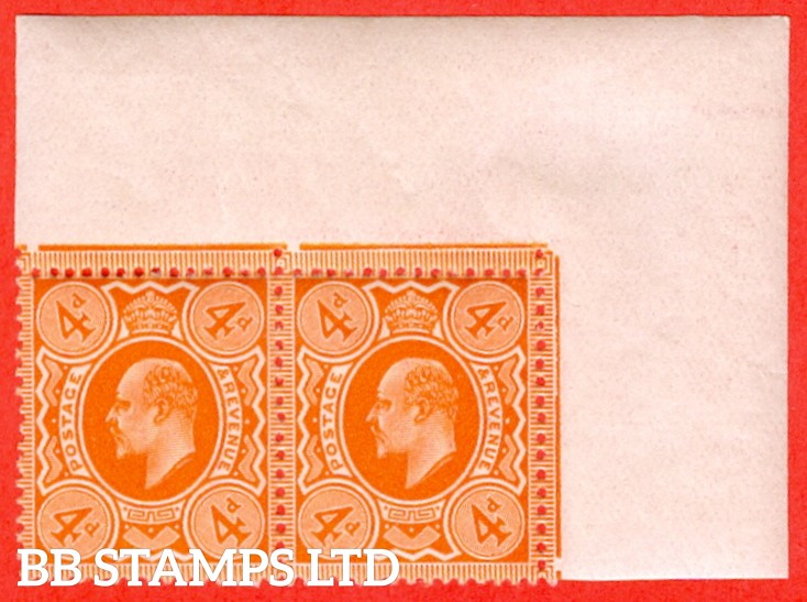 SG. 286 variety M27 (3). 4d Very Deep Orange. A superb UNMOUNTED MINT top right hand corner marginal horizontal pair.