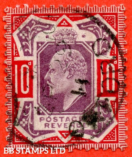 "SG. 256a. M43 (5) d. 10d Dull Purple & Scarlet ©. "" NO CROSS ON CROWN "". A fine "" 29th September 1911 OXFORD "" CDS used example of this difficult Edwardian variety."
