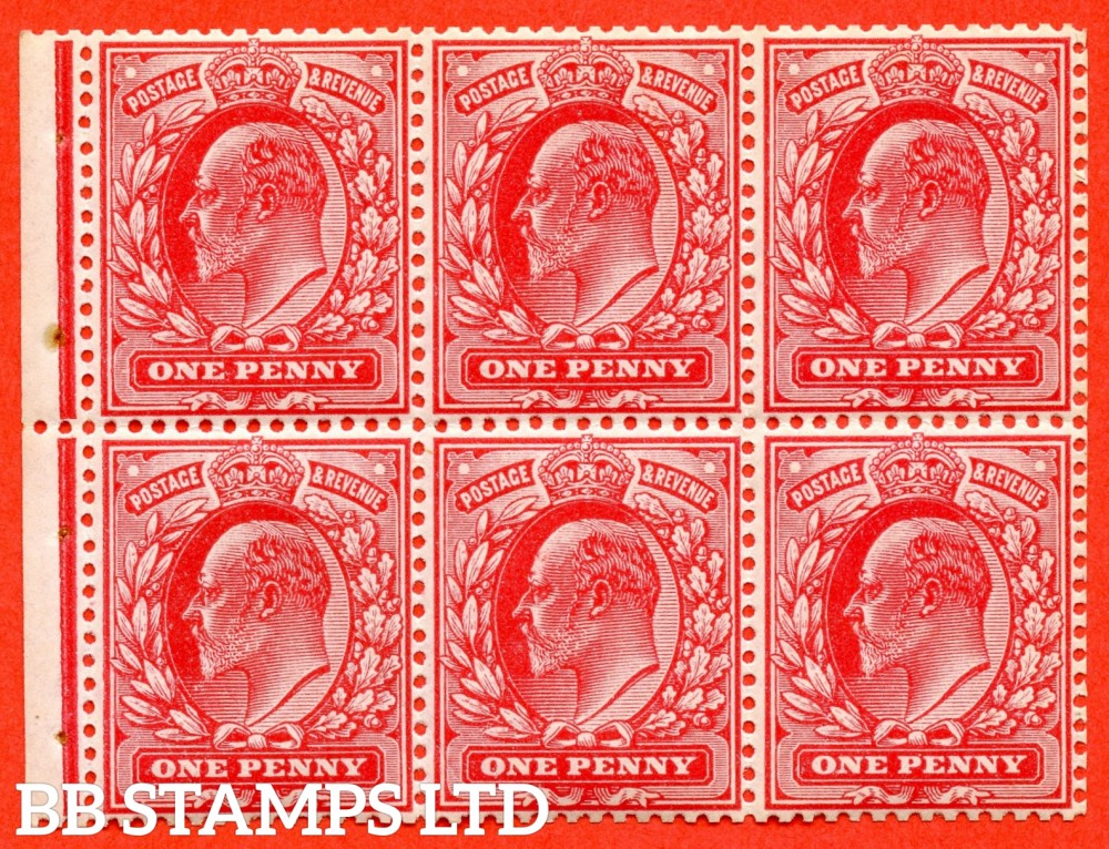 "SG. 219 a. MB5. M5 (1). 1d scarlet. A super UNMOUNTED MINT complete booklet pane. Perf type "" P ""."