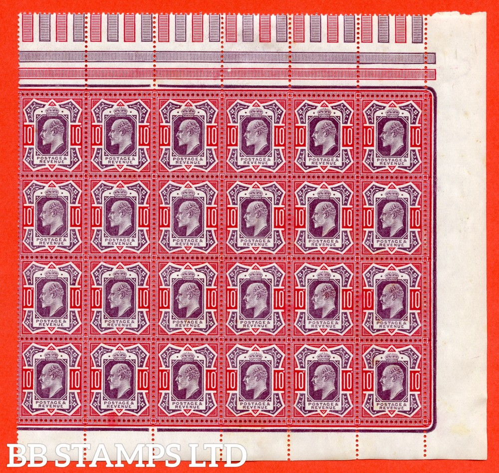 "SG. M43 (2) & b. 10d Slate Purple & Carmine ©. A Superb UNMOUNTED MINT block of 24. 3 stamps having the scarce "" NO CROSS ON CROWN "" variety."