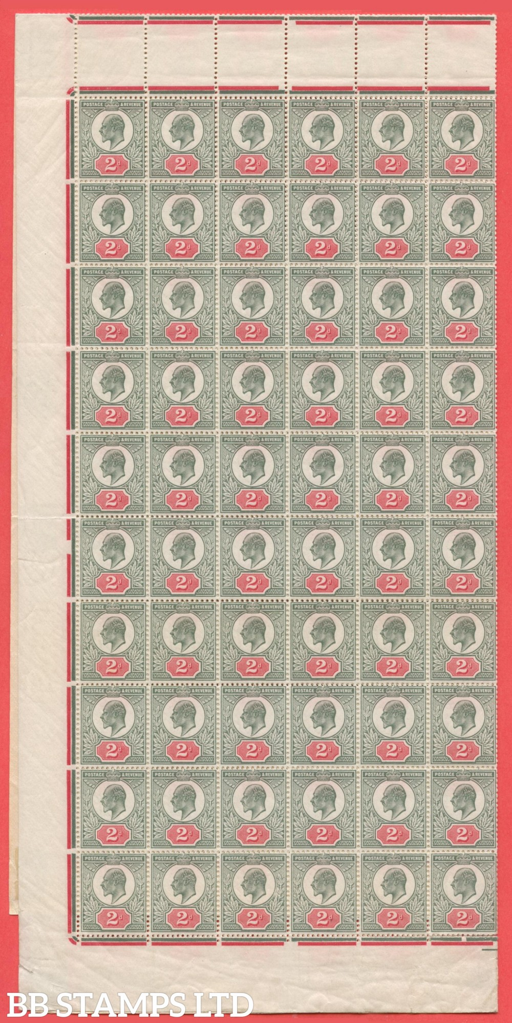SG. 291. M13 (2). 2d Grey Green & Bright Carmine. A fine COMPLETE SHEET OF 240. The odd crease as to be expected but VERY RARE to see these days.