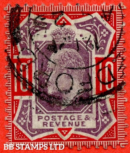 "SG. 256a. M43 (5) d. 10d Dull Purple & Scarlet ©. "" NO CROSS ON CROWN "". A fine "" 25th August "" CDS used example of this difficult Edwardian variety."