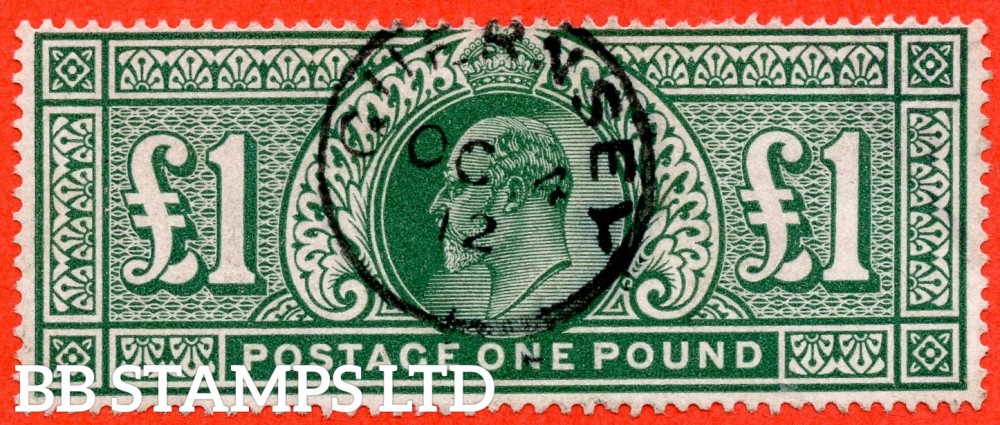 "SG. 320. M56. £1.00 Deep Green. A super "" 4th October 1912 GUERNSEY "" CDS used example complete with RPS certificate.."