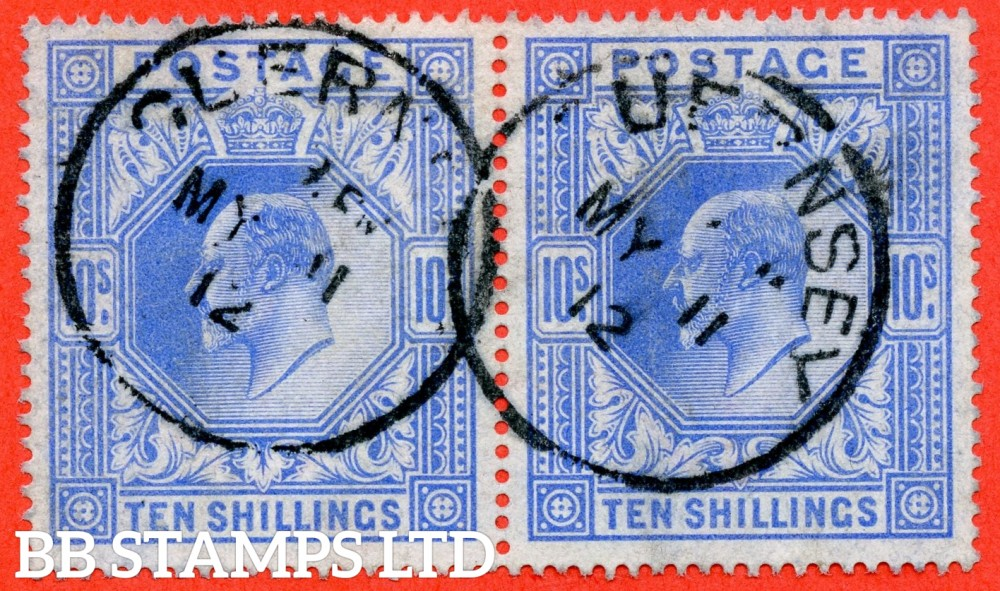 """SG. 319. Variety M54 (1). 10/- Bright - Blue. A very fine """" 11th May 1912 GUERNSEY """" CDS used gorizontal pair. A scarce multiple."""