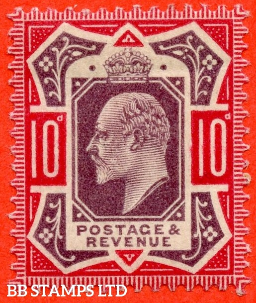SG. M42 ( UNLISTED ). 10d slate purple & bright carmine ( F ). A mounted mint example of this scarce Edwardian shade which is unlisted by SG. Complete with Hendon certificate.