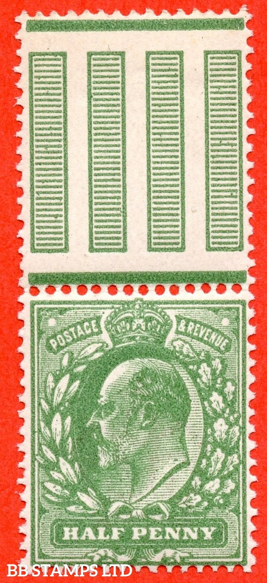 SG. 279 a. Variety M4 (3). ½d Deep Dull Green (Very blotchy print). A superb UNMOUNTED MINT top marginal example of this scarce Edwardian shade complete with certificate.