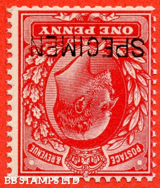 SG. 219 wi s. M5 (1) a t. 1d scarlet. INVERTED WATERMARK. A very fine UNMOUNTED MINT example overprinted by SPECIMEN type 16.