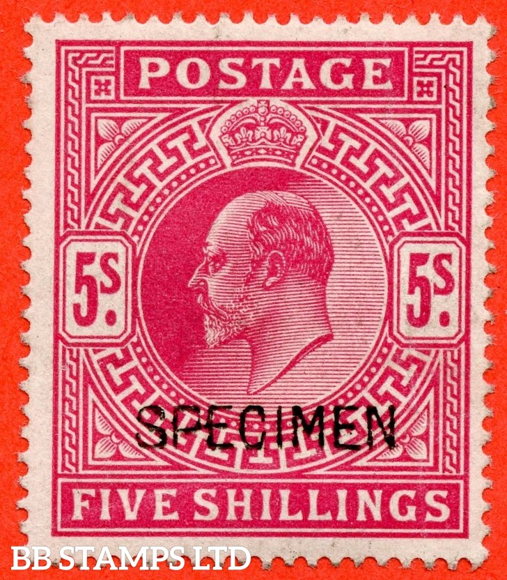 SG. 263 s. M51 (1) s. 5/- Bright Carmine. A fine UNMOUNTED MINT example overprinted with SPECIMEN type 16.