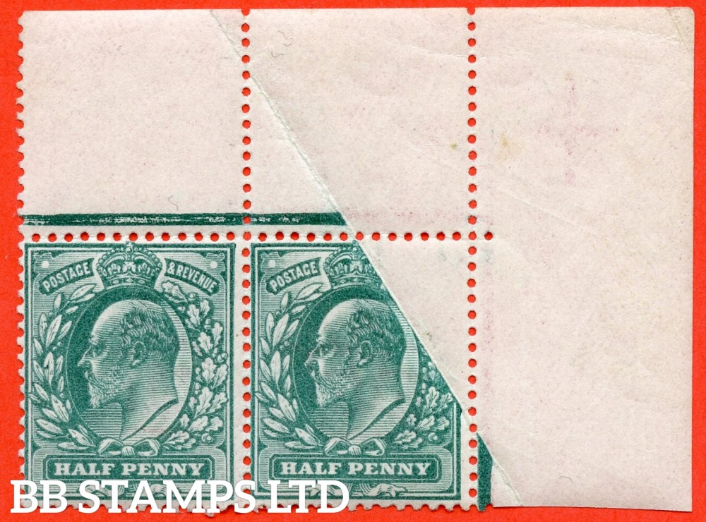 SG. 216. M1 (2). ½d blue green. A super UNMOUNTED MINT top right hand corner marginal pair with a super PAPER FOLD ERROR.