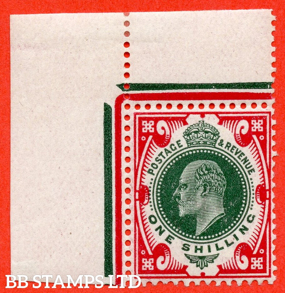 SG. 314. M47 (5). 1/- Green & Carmine. A very fine UNMOUNTED MINT top left corner marginal example.