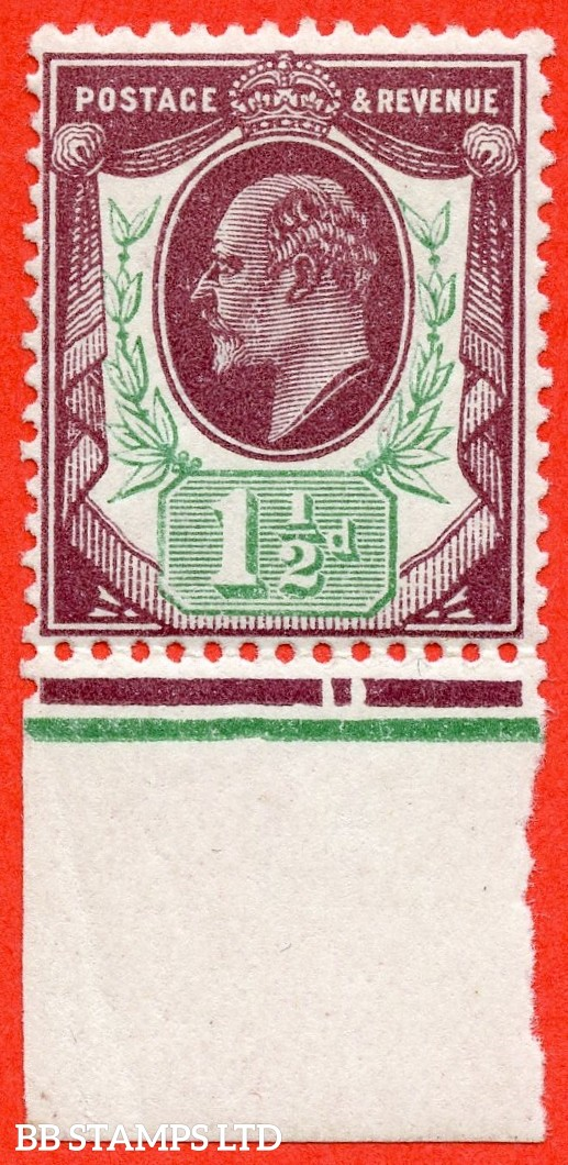 SG. M10 (UNLISTED). 1½d deep plum and pale green. A fine UNMOUNTED MINT example of this known but unlisted by SG shade variety complete with HENDON certificate.