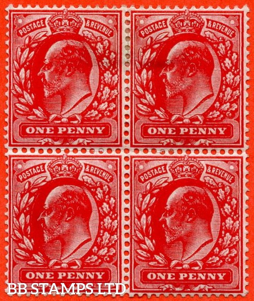 SG. M5 ( UNLISTED). 1d Deep Blood Red. A fine mint ( 2 stamps UNMOUNTED MINT ) block of 4 of this known but unlisted by SG. Shade variety complete with Hendon certificate.