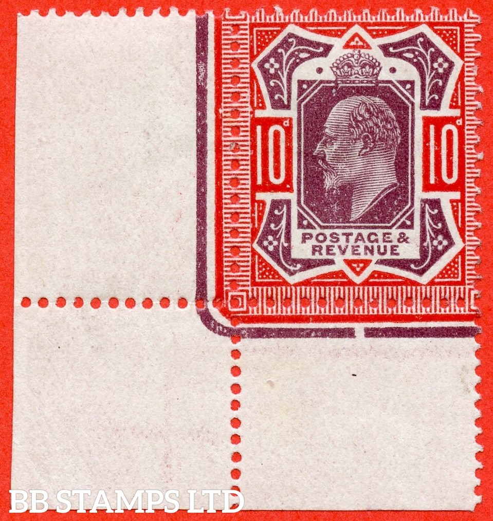 SG. M44 (1). 10d Dull Reddish Purple & Scarlet. A very fine lightly mounted mint bottom left hand corner marginal example.