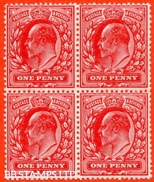 SG. 280 variety M7 (2). 1d Deep Rose Red. A superb UNMOUNTED MINT block of 4 of this difficult Edwardian shade variety complete with RPS certificate.