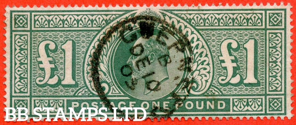 "SG. 266. M55. £1.00 dull blue - green. A very fine "" December 10th 1903 GUERNSEY "" CDS used example."