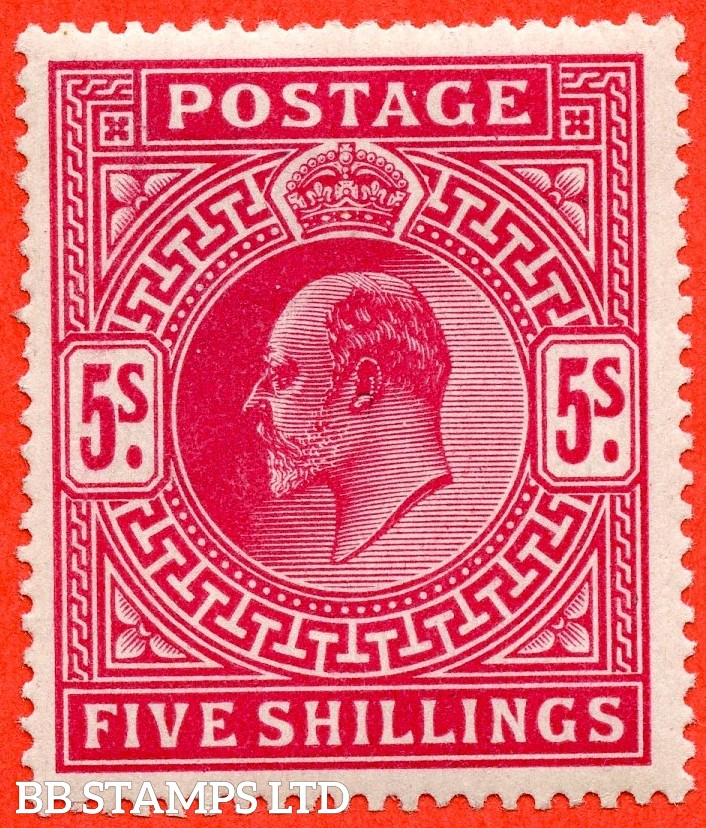 SG. 264. M51 ( 2 ). 5/- Deep Bright Carmine. A very fine UNMOUNTED MINT example of this classic Edwardian high value.