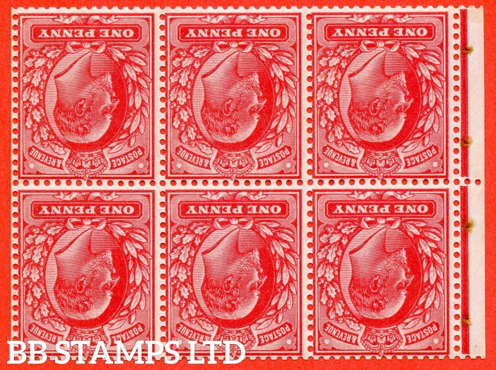 "SG. 219 aw. MB5a. M5 (1) a. 1d scarlet. INVERTED WATERMARK. A super UNMOUNTED MINT complete booklet pane. Perf type "" P ""."