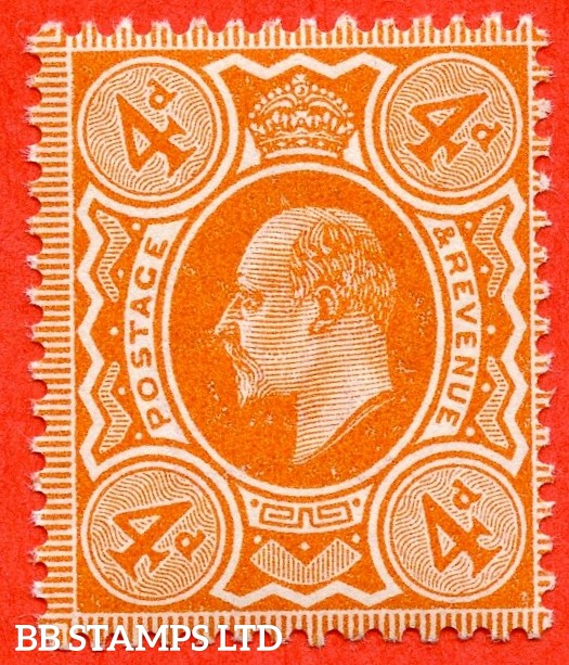 SG. 278 variety M26 (2). 4d Deep Bright Orange. A superb UNMOUNTED MINT example complete with Hendon certificate.