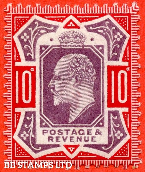 """SG. 256a. M43 (5) 10d Dull Purple & Scarlet ©. """" No Cross on Crown. A Superb UNMOUNTED MINT example."""