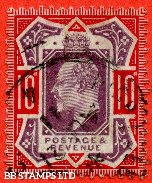 "SG. 256a. M43 (5) d. 10d Dull Purple & Scarlet ©. "" NO CROSS ON CROWN "". A fine "" 21st August 1911 "" CDS used example of this difficult Edwardian variety."