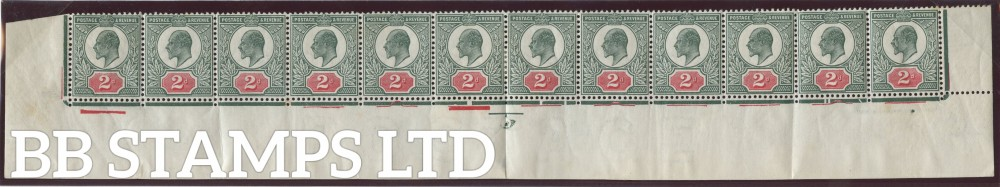 SG. 291. M13 (2). 2d Deep Dull Green & Carmine. A fine mint complete bottom row.