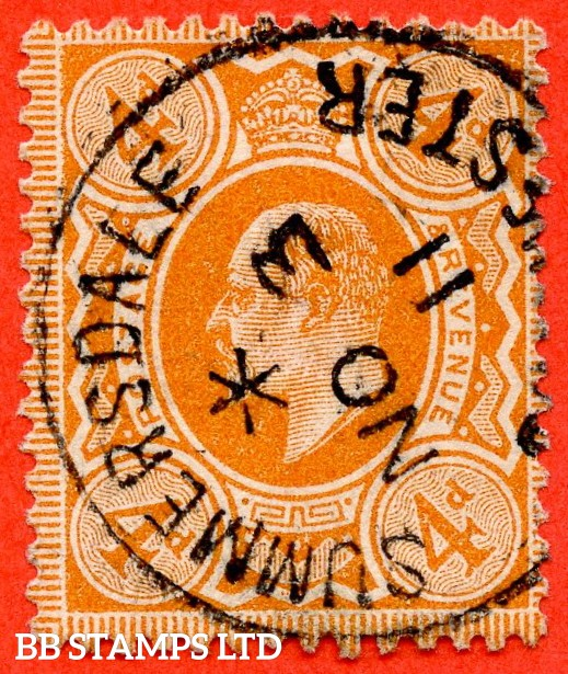 "SG. 278. M26 (1). 4d Bright Orange. A super  "" 3rd November 1911 SUMMERSDALE "" CDS used example."