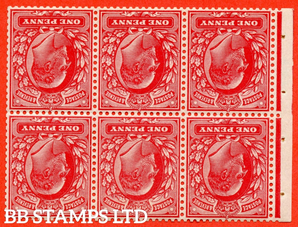 SG. MB5a. M5 (2) a. 1d bright scarlet. INVERTED WATERMARK. A super UNMOUNTED MINT complete booklet pane. Perf type E. Complete with RPS certificate.