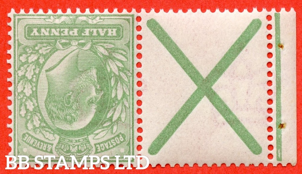 SG. 218 a wi. M2 (2) a. ½d yellowish green. INVERTED WATERMARK. A superb UNMOUNTED MINT example with St. Andrew's cross label attached.