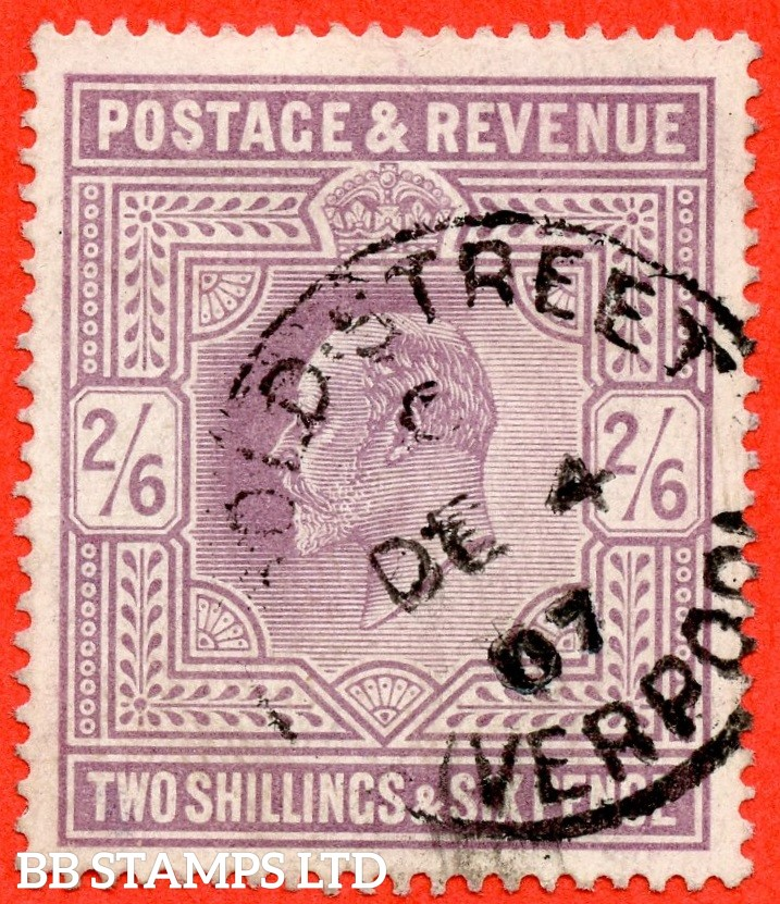 "SG. 261. M49 (1). 2/6d Pale Dull Purple ©. A fine "" 4th December 1907 LIVERPOOL "" CDS used example."