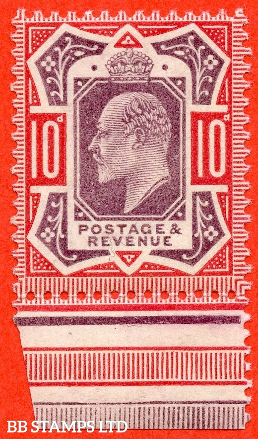 SG. 254 Variety M42 (3). 10d Slate Purple & Carmine Pink. A very fine UNMOUNTED MINT example complete with RPS certificate.