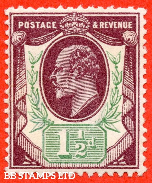 SG. M10 (UNLISTED). 1½d deep plum and pale green. A fine UNMOUNTED MINT example of this known but unlisted by SG shade variety complete with certificate.