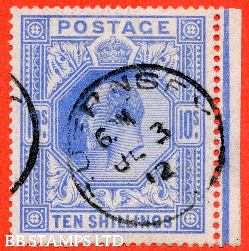 """SG. 319. M54 (2). 10/- Blue. A fine """" 3rd June 1912 GUERNSEY """" CDS used right hand marginal example of this scarce Edward VII high value."""