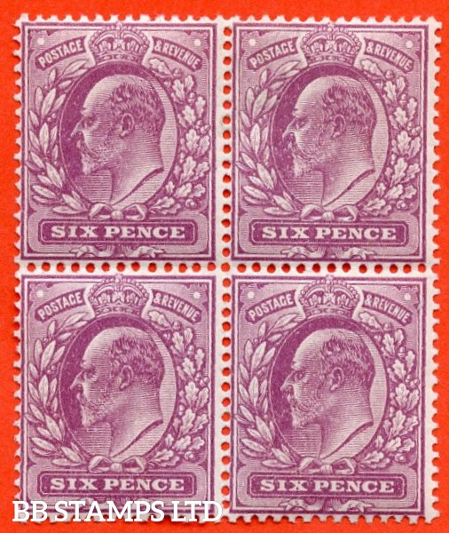 SG. 295. M33 (1). 6d Royal Purple. A very fine UNMOUNTED MINT block of 4 of this more difficult Edwardian shade variety. Ex. The superb collection of Lady Mairi Bury.