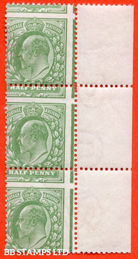 "SG. 268. M3 (2). ½d Dull Green. A fine UNMOUNTED MINT right hand marginal vertical strip of 3 with a cracking "" MIS - PERF "" ERROR."