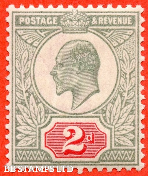 SG. M11 (3). 2d Pale Grey Green & Scarlet Vermilion. A super UNMOUNTED MINT example of this difficult Edwardian shade variety.