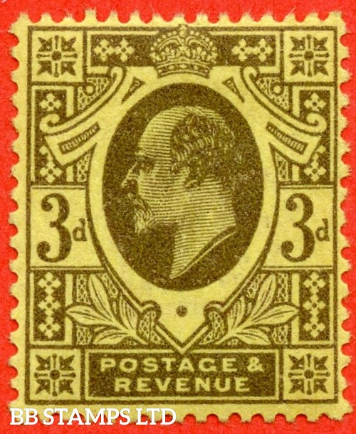 SG. 285a. M22 (3). 3d Grey/Lemon. A superb UNMOUNTED MINT example of this RARE Edwardian shade complete with RPS certificate.