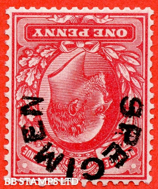SG. 219 swi. M5 (1)a u. 1d scarlet. INVERTED WATERMARK. A very fine UNMOUNTED MINT example overprinted by SPECIMEN type 17.