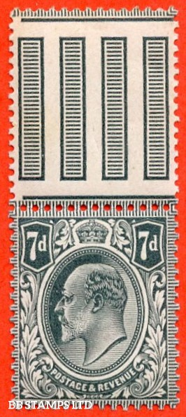 SG. 249a. M37 (2). 7d Deep Grey Black. A super UNMOUNTED MINT top marginal example complete with RPS certificate.
