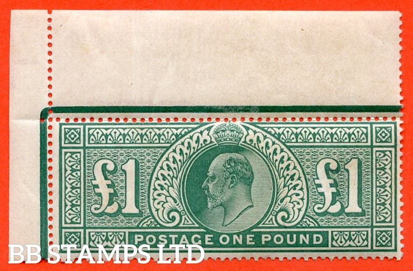 SG. 266. M55. £1.00 dull blue - green. A super UNMOUNTED MINT top left hand corner marginal example.